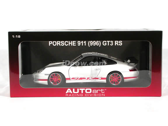 2004 Porsche 911 GT3 RS diecast model car 1:18 scale die cast by AUTOart - White with Red Stripe