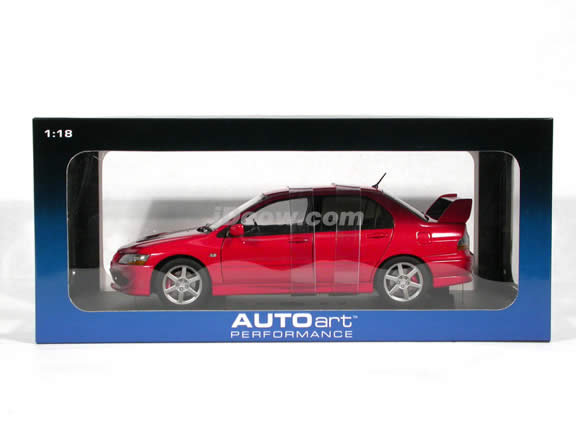 2005 Mitsubishi Lancer Evolution VIII diecast model car 1:18 scale die cast by AUTOart - Red (RHD)