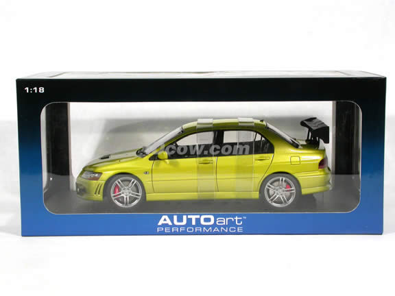2003 Mitsubishi Lancer Evolution VII diecast model car 1:18 scale die cast by AUTOart - Mustard Yellow (RHD)