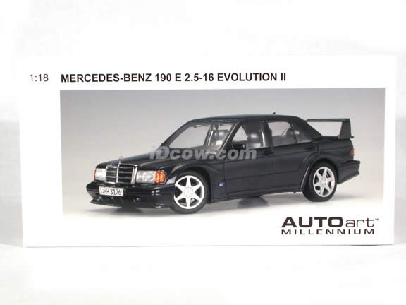 1990 Mercedes Benz 190 E 2.5-16 Evolution II diecast model car 1:18 scale die cast by AUTOart - Black
