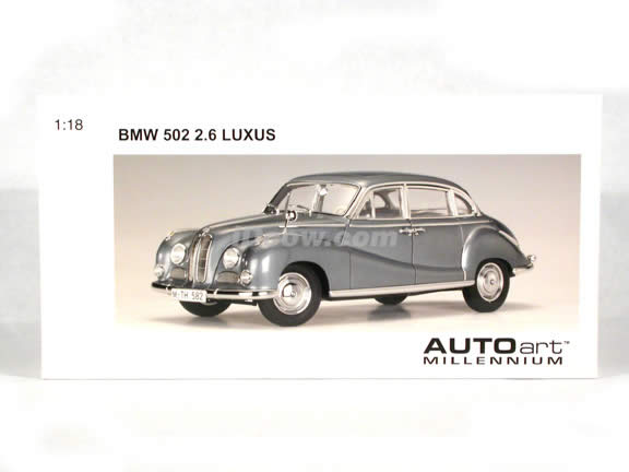 BMW 502 2.6 Luxus diecast model car 1:18 scale die cast by AUTOart - Steel Blue Metallic