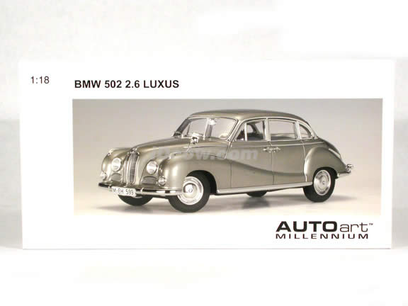 BMW 502 2.6 Luxus diecast model car 1:18 scale die cast by AUTOart - Silver Beige Metallic