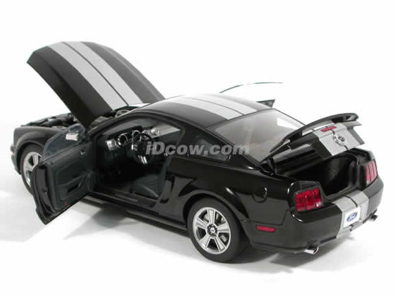 2005 Ford Mustang GT diecast model car 1:18 scale die cast by AUTOart - Limited Edition Black with Silver Racing Stripes 73015
