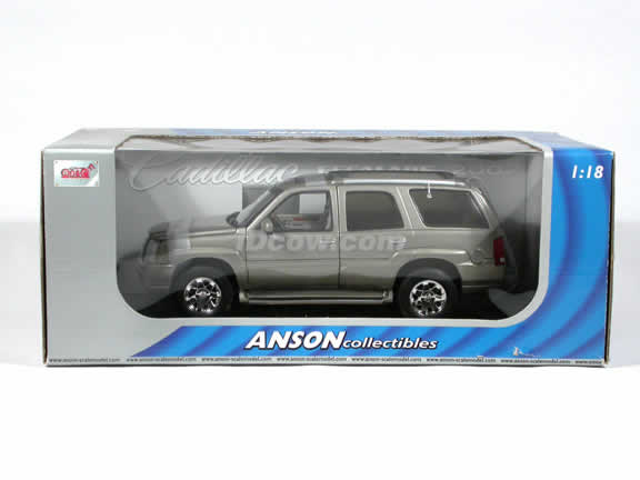 2002 Cadillac Escalade SUV diecast model car 1:18 die cast by Anson - Silver Sand