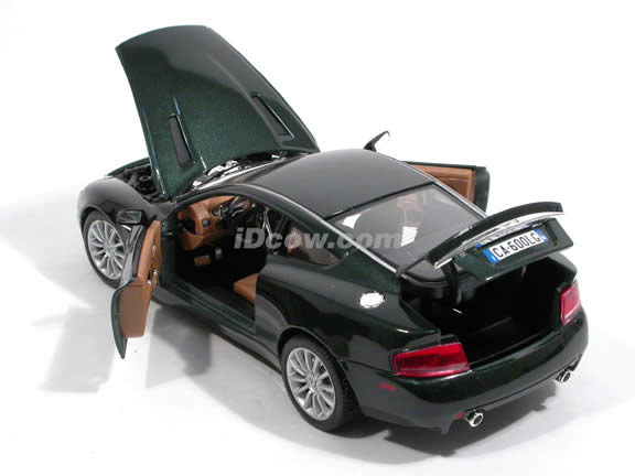 2002 Aston Martin Vanquish diecast model car 1:18 scale V12 by Bburago - Metallic Green 12053