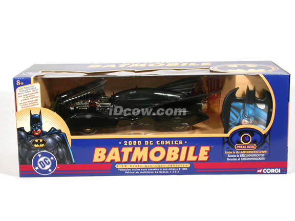 2000 DC Comics Batmobile diecast model car 1:18 scale die cast by Corgi - with Batcommunicator