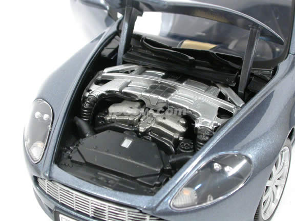 2004 Aston Martin DB9 diecast model car 1:18 scale die cast from Motor Max - Metallic Blue Grey 73174