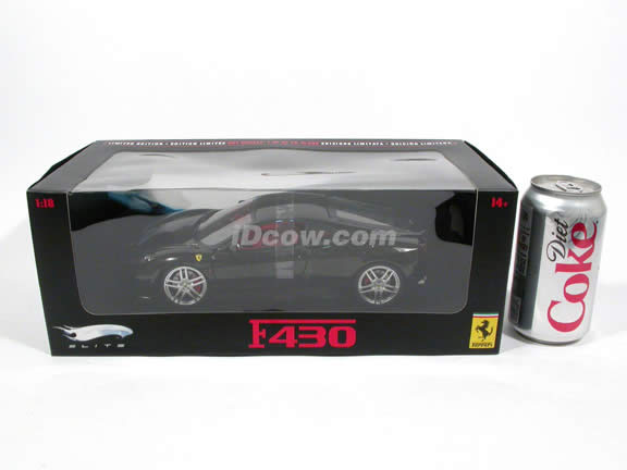 2009 Ferrari F430 diecast model car 1:18 scale die cast by Hot Wheels Elite - Black Elite N2057
