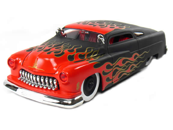 1951 Mercury Hot Rod diecast model car 1:18 scale die cast by Jada Toys - Black Red Flame 90338