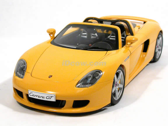 2005 Porsche Carrera GT diecast model car 1:18 scale die cast by AUTOart - Yellow