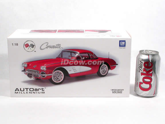 1959 Chevrolet Corvette diecast model car 1:18 scale die cast by AUTOart - Roman Red
