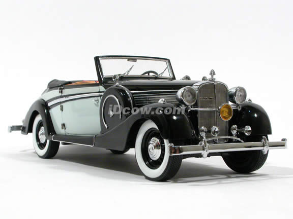 1937 Maybach SW38 diecast model car 1:18 scale die cast by Signature Models - Black Grey