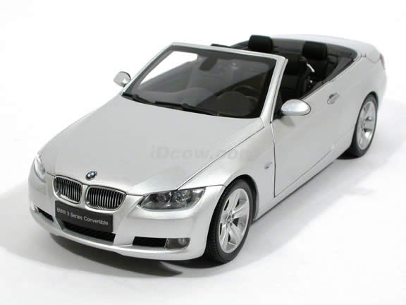 2008 BMW 335i Convertible diecast model car 1:18 scale die cast by Kyosho - Silver