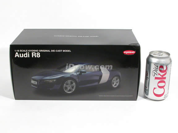 2008 Audi R8 diecast model car 1:18 scale die cast by Kyosho - White