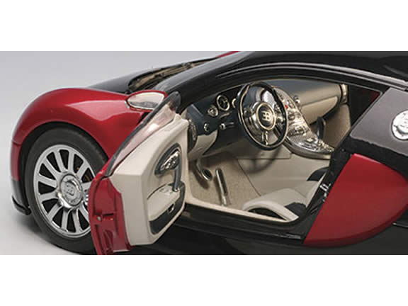 2009 Bugatti Veyron diecast model car 1:18 scale die cast by AUTOart - Black Red