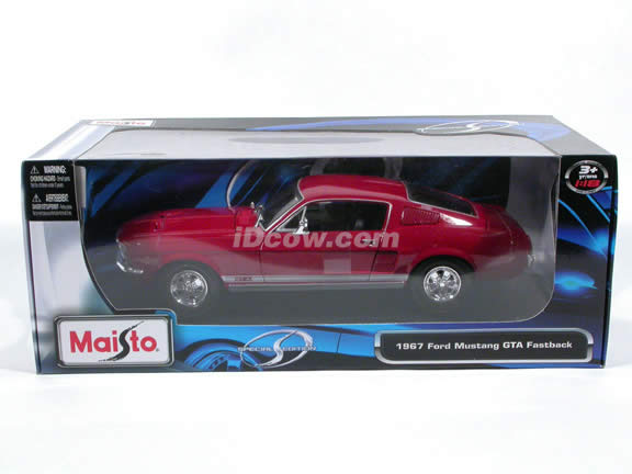 1967 Ford Mustang GTA Fastback diecast model car 1:18 scale die cast by Maisto - Red