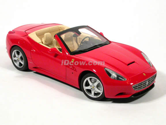 2010 Ferrari California diecast model car 1:18 die cast by Hot Wheels - Red