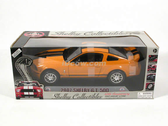 2007 Ford Shelby Mustang GT500 diecast model car 1:18 scale die cast by Shelby - Yellow Black Stripes