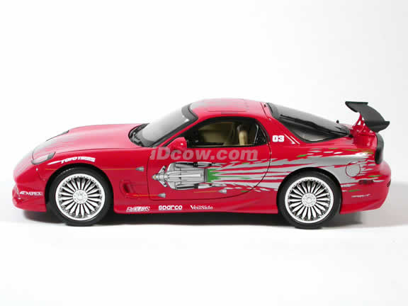 1993 Mazda Rx7 Diecast Model Car The Fast And The Furious 1 18