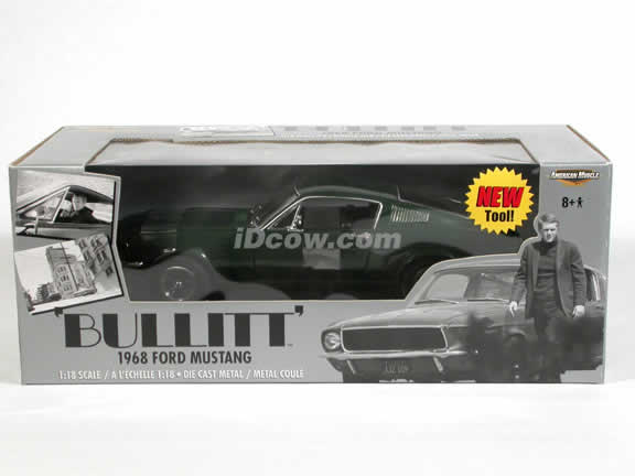 1968 Ford Mustang Bullitt diecast model car Steve McQueen collection 1:18 die cast by Ertl - Green