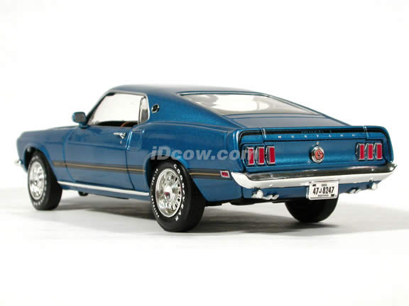 1969 Ford Mustang Mach 1 diecast model car 1:18 scale die cast by Ertl 1 of 2500 - Blue