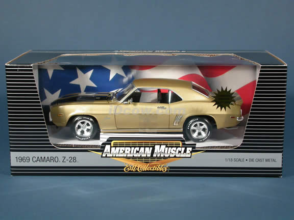 1969 Chevrolet Camaro Z-28 diecast model car 1:18 scale die cast by Ertl 1 of 2500 - Gold