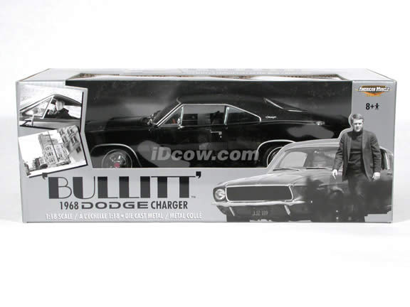 1968 Dodge Charger Bullitt diecast model car Steve McQueen collection 1:18 die cast by Ertl - Black