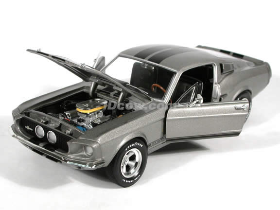 1967 Shelby Mustang GT-500 diecast model car 1:18 scale die cast by Ertl 1 of 2500 Silver-Grey