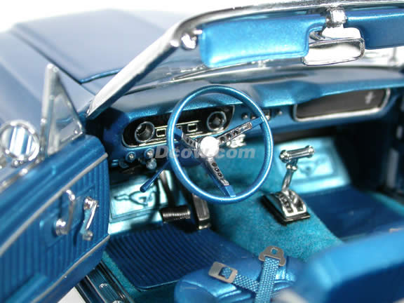 1964 1/2 Ford Mustang Convertible diecast model car 1:18 scale die cast by Precesion Collection 100 ERTL - Blue