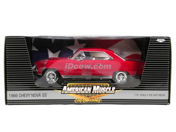1966 Chevy Nova SS diecast model car 1:18 scale die cast by Ertl 1 of 2500 - Red