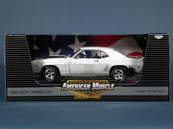 1969 Chevy Camaro Z28 diecast model car 1:18 scale die cast by Ertl 1 of 2500 - White