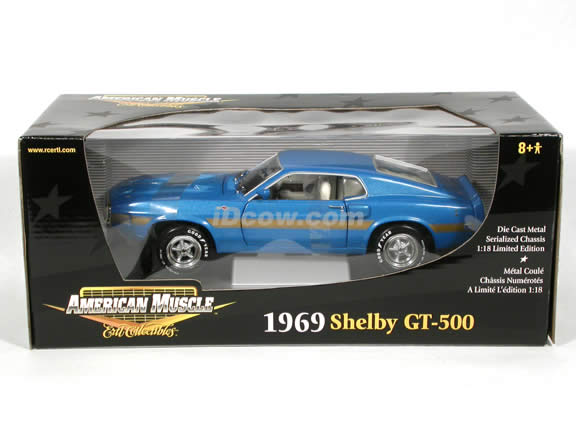 1969 Ford Mustang Shelby GT-500 diecast model car 1:18 scale die cast by Ertl - Blue