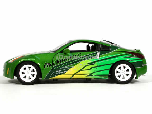2003 Nissan 350Z diecast model car 1:18 scale Fast and Furious 3 Tokyo Drift by Ertl - Green 53608D