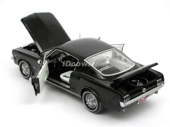 1965 Ford Mustang diecast model car 1:18 scale Fastback by ERTL Authentics - Black 39300
