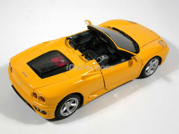 Ferrari 360 Spider diecast model car 1:18 die cast by Hot Wheels - Yellow