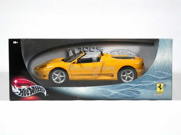 Ferrari 360 Spider diecast model car 1:18 die cast by Hot Wheels - Yellow