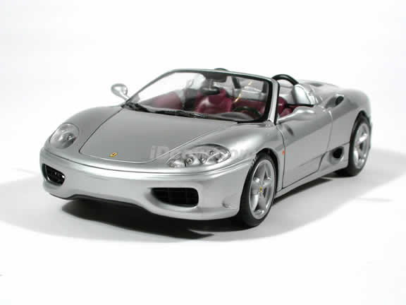 Ferrari 360 Spider diecast model car 1:18 die cast by Hot Wheels - Silver