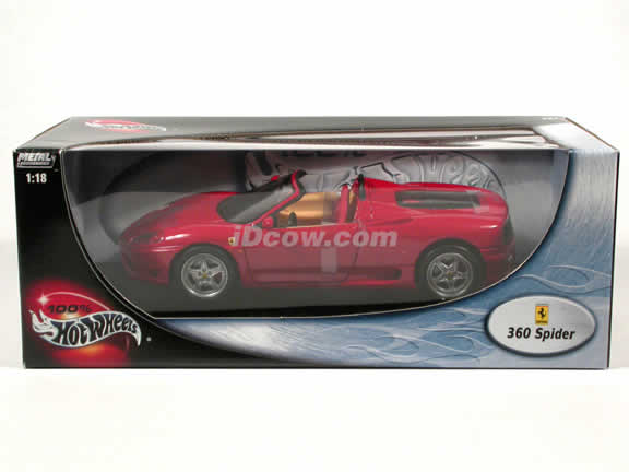 2002 Ferrari 360 diecast model car 1:18 Spider by Hot Wheels - Red Spider