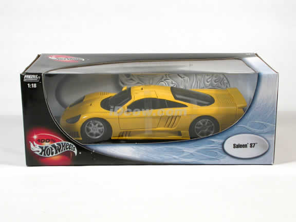 Saleen S7 diecast model car 1:18 die cast by Hot Wheels - Yellow