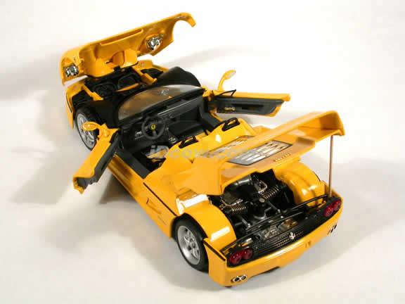 1995 Ferrari F50 diecast model car 1:18 die cast by Hot Wheels - Yellow