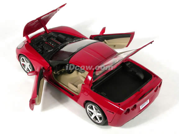 2005 Chevrolet C6 Corvette diecast model car 1:18 scale die cast by Hot Wheels - Red