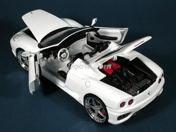 Ferrari 360 Spider Whips diecast model car 1:18 scale die cast by Hot Wheels - White