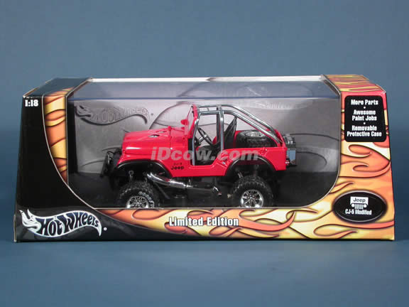 Jeep CJ-5 Modified diecast model car 1:18 scale die cast by Hot Wheels - Red