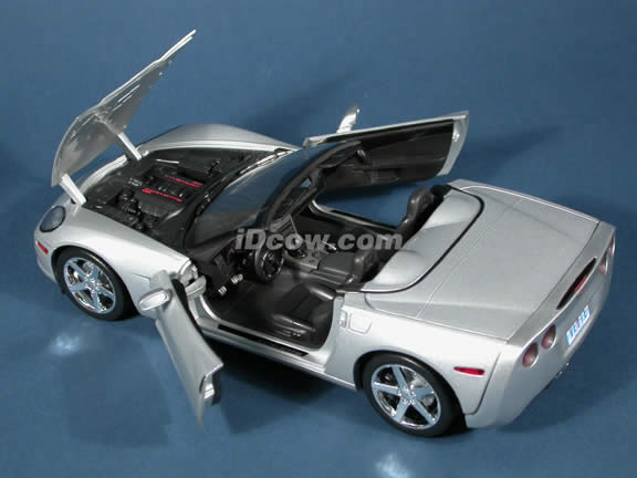 2005 Chevrolet C6 Corvette Convertible diecast model car 1:18 scale die cast by Hot Wheels - Silver