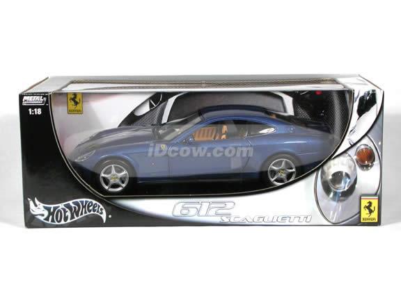 2004 Ferrari 612 Scaglietti diecast model car 1:18 scale die cast by Hot Wheels - Blue
