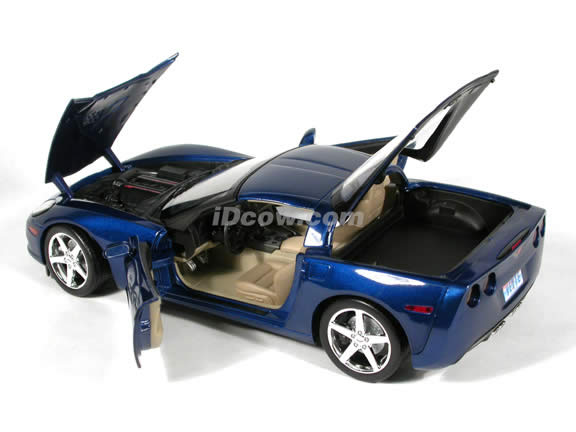 2005 Chevrolet C6 Corvette diecast model car 1:18 scale die cast by Hot Wheels - Blue