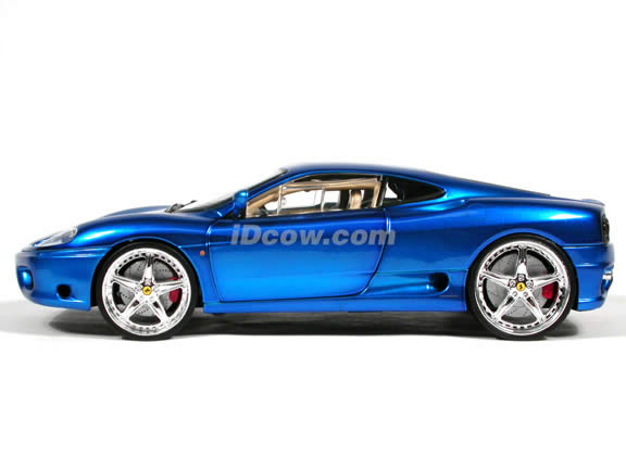 Ferrari 360 Modena Whips diecast model car 1:18 scale die cast by Hot Wheels - Candy Blue