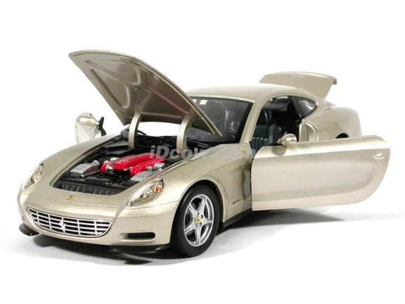 2004 Ferrari 612 Scaglietti diecast model car 1:18 scale die cast by Hot Wheels - Champagne Silver