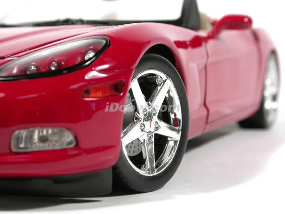 2005 Chevrolet C6 Corvette Convertible diecast model car 1:18 scale die cast by Hot Wheels - Red