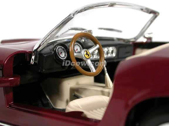 1960 Ferrari 250 GT California diecast model car 1:18 scale Spider by Hot Wheels - Burgundy Spider